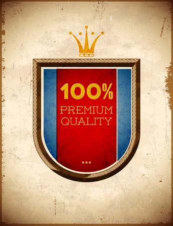 Aged card with 100 percent quality shield label Vector