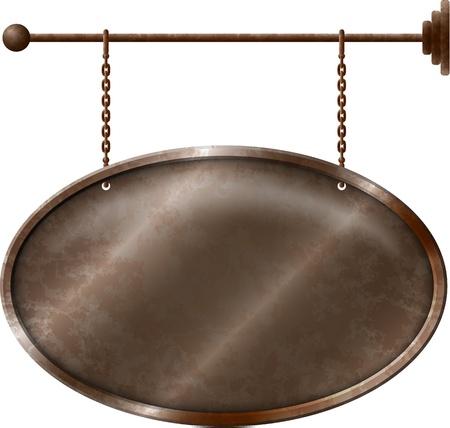 Elliptische rostiges Metall Schild an den Ketten Standard-Bild - 19087409