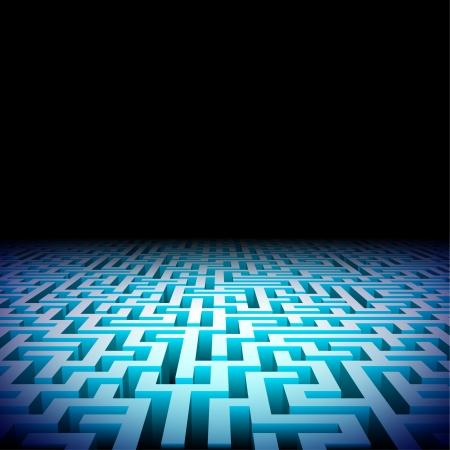 Abstract verlicht perspectief labyrint in de duisternis