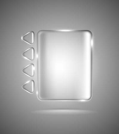 Erleichterter transparente Schnittstelle mit Glas Rechteck und Dreieck