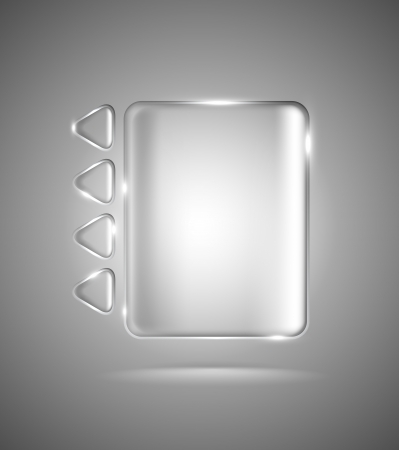 Lightened transparent interface with glass rectangle and triangles