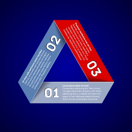 Infographic with impossible triangle with numbered ribbons Vector