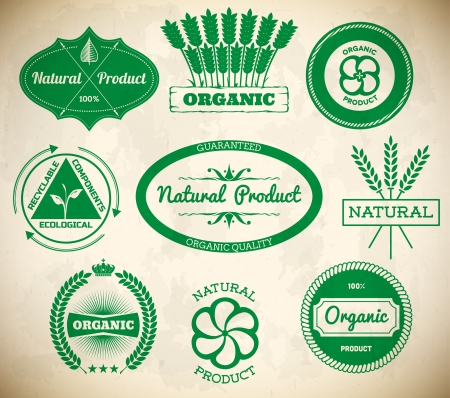 Set of vintage ecologic labels. Collection 1 Vector