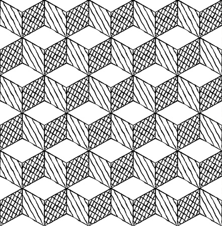 magic eye: Black and white cubes puzzle seamless pattern Illustration