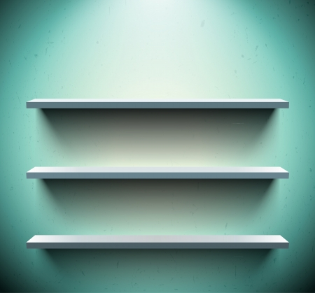 Three lightened shelves on old blue wall Stock Vector - 19338187