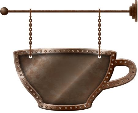 Roestige metalen koffiekopje uithangbord op kettingen