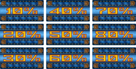 Set of sale percent labels on jeans strip Stock Vector - 19397471
