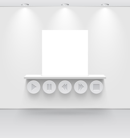 White room with shelf and media interface Stock Vector - 19397472