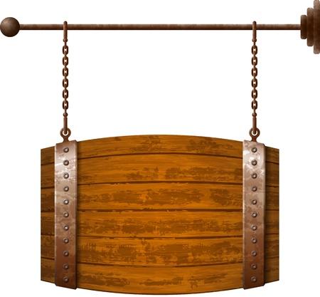 バレル形さびた鎖に木製看板