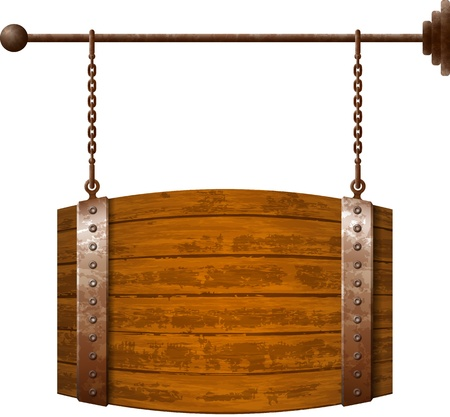 hanging sign: Barrel shaped wooden signboard on rusty chains Illustration