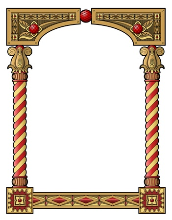 slavic: Traditional wood carved frame with painted columns