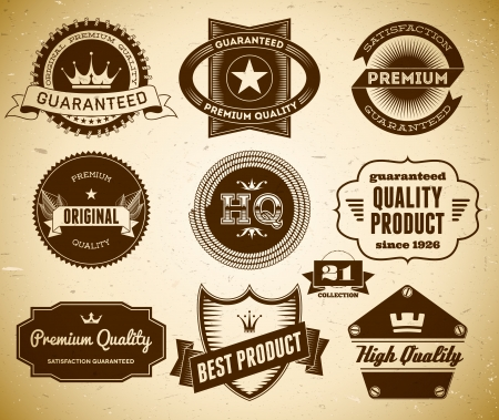 Set of vintage labels on the cardboard. Collection 21 Vector