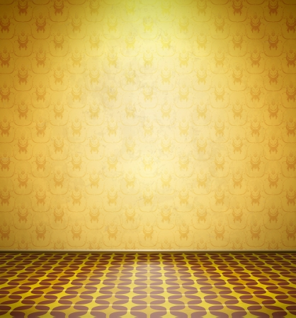 Old abandoned room with yellow wallpaper and tiled floor