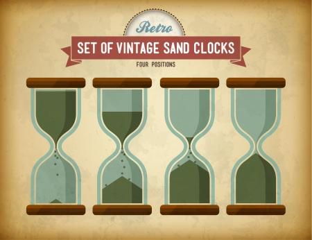 Set van vintage zand klokken op grungy kaart Stock Illustratie