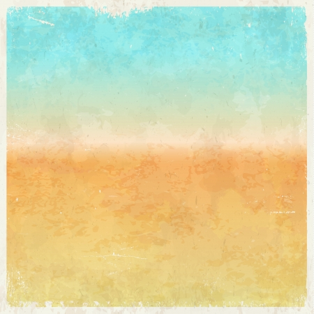 beach illustration: Vacation themed grungy retro abstract background