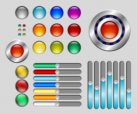 Set of colorful glossy buttons and sliders Stock Vector - 20100341