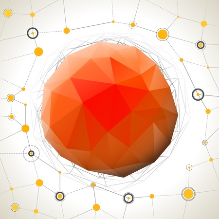 Abstract geometric mosaic ball with connection wires Stock Vector - 20331280