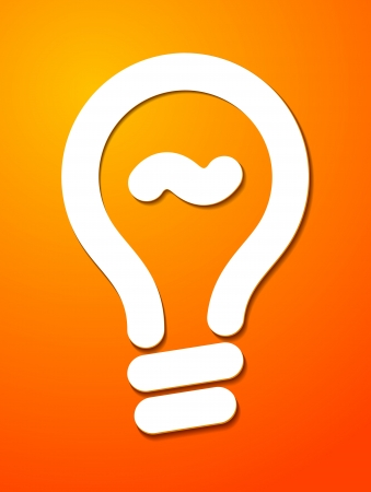 White cut lightbulb symbol on orange background Vector