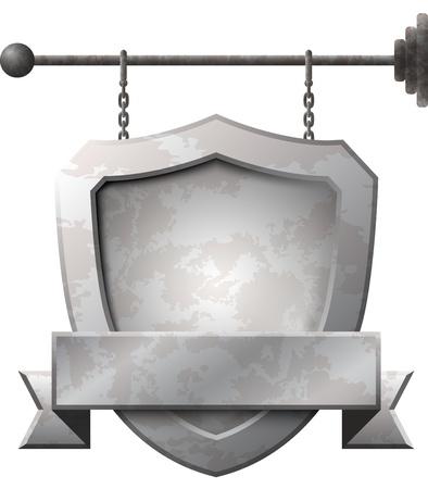 盾形、鎖にさびた金属看板