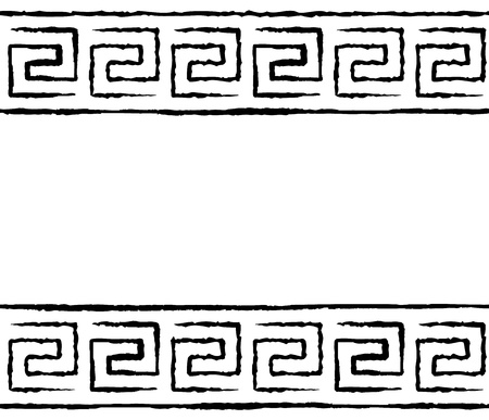 meander: Black and white greek meander seamless pattern