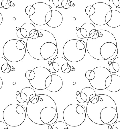 Seamless monochrome pattern with ink circles drawing Vector