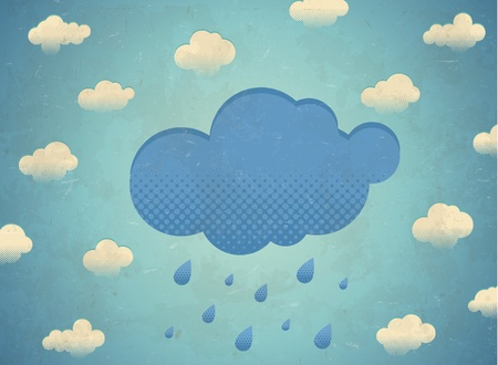 Vintage aged card with rainy clouds in the sky Stock Vector - 20694851