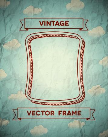 雲およびリボンとヴィンテージのスムーズなフレーム  イラスト・ベクター素材