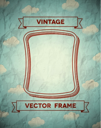 grunge border: Vintage smooth frame with clouds and ribbons
