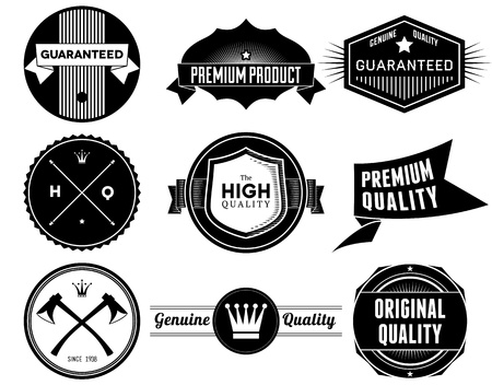 Set of vintage Premium Quality labels. Bitmap collection 4 photo