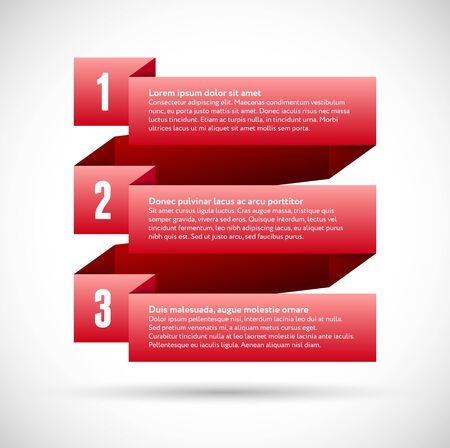 Infographic with red spiral numbered ribbons for business Vector