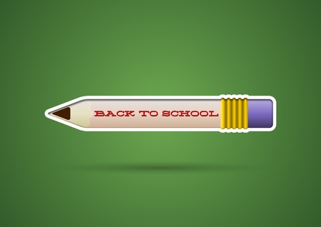 Pencil sticker with eraser on the blackboard Stock Vector - 21491116