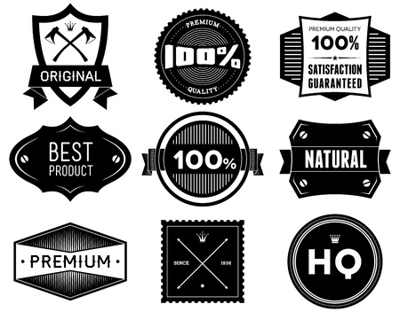 Set of vintage Premium Quality labels  Bitmap collection 5 photo