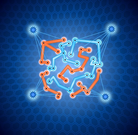 Abstract orange and blue connectors on the hex background