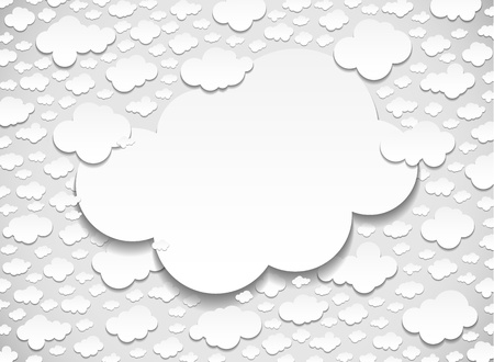 Frame with many cut out white paper clouds Stock Vector - 22179128