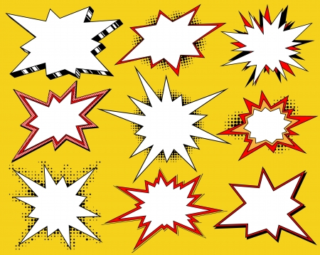 comic graphic: Collection of cartoon styled bang speech bubbles Illustration
