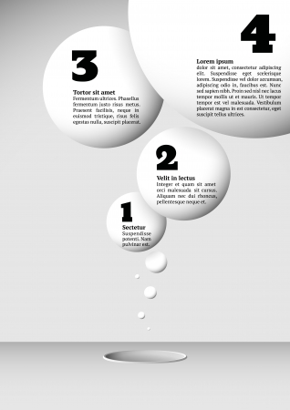 Infographics with growing flying numbered white balls Vector