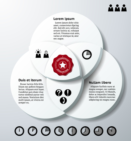 Infographics with three 3D overlapping circles and icons Vector