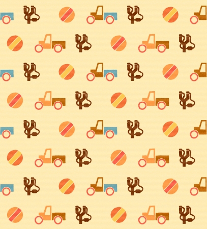 Pale retro wallpaper with seamless toys pattern Vector