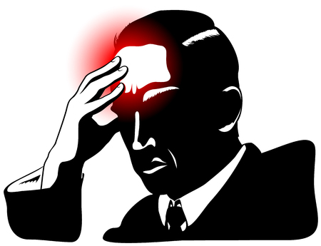 forehead: Silhouette of man with headache and hand set to forehead Illustration