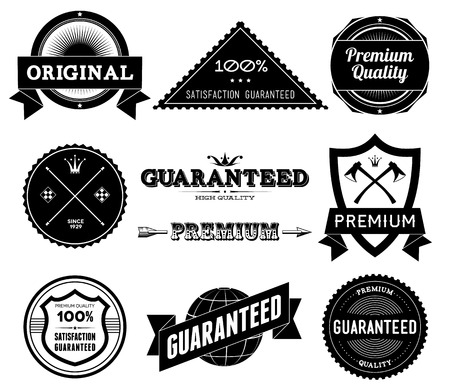 Set of vintage Premium Quality labels  Bitmap collection 9 Фото со стока