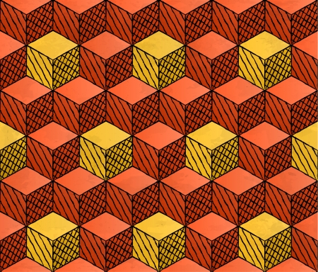 Colorful drawing styled cubes puzzle seamless pattern Vector