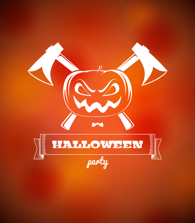 Halloween poster with pumpkin and crossed axes Vector