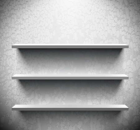 craquelure: Three lightened shelves on old cracked wall