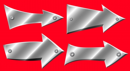 Set of metal arrows with rivets on red background Stock Vector - 22476729