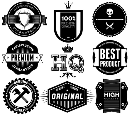 Set of vintage Premium Quality labels. Bitmap collection 10 photo