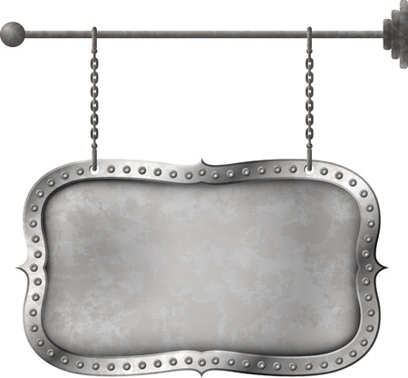 Retro distressed metal signboard on the chains