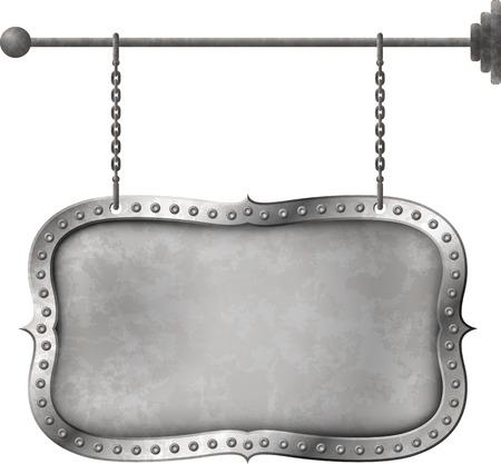 letreros: Se�al metal apenado retro en las cadenas Vectores