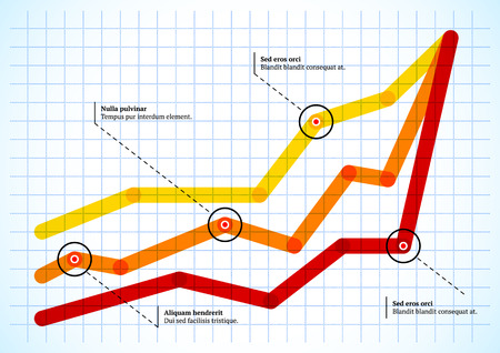 line graph: Intersecting graph lines with round pointers on the grid