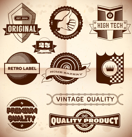 Set of vintage labels on the cardboard  Collection 23 Vector