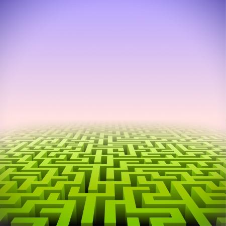 életmód: Absztrakt zöld perspektívát labirintus rózsaszín ködben